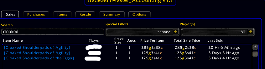 Cloaked Shoulderpads sales