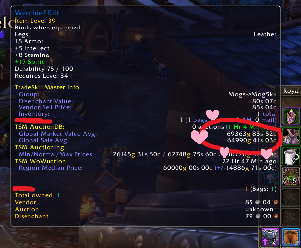 Finding old items in guild banks for sale, using TSM3