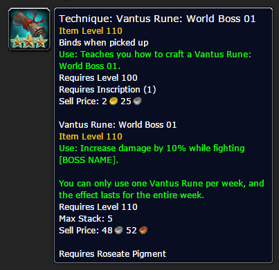 Vantus Rune Placeholder in World of Warcraft Legion Alpha for Inscription