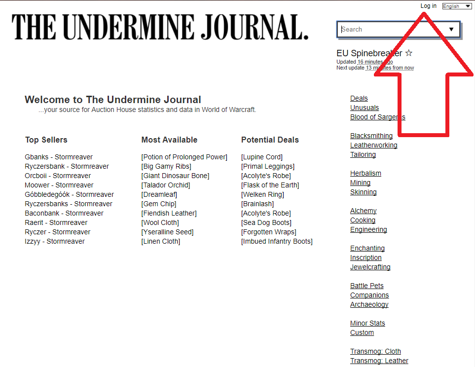 The Undermine Journal - log in