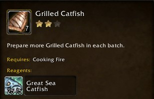 Grilled Catfish requires raw Great Sea Catfish